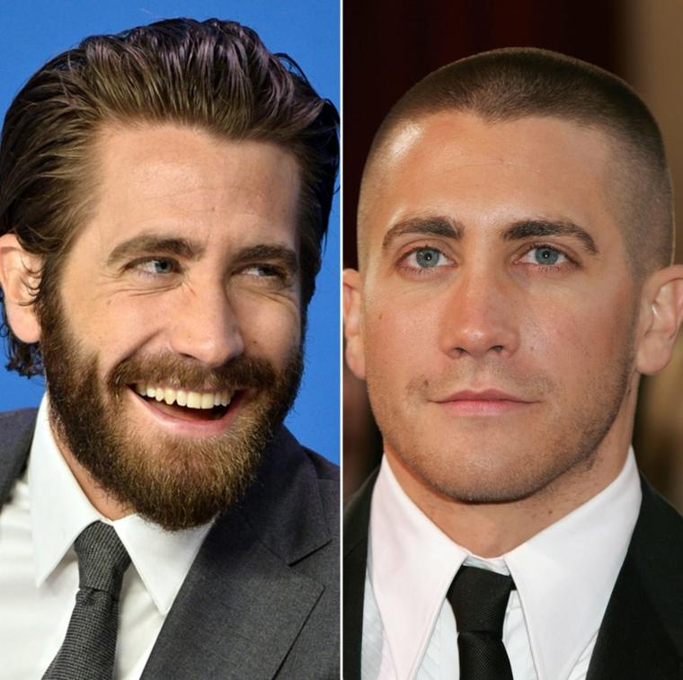 Tagli capelli maschili, l'attore Jake Gyllenhaal, attori con barba