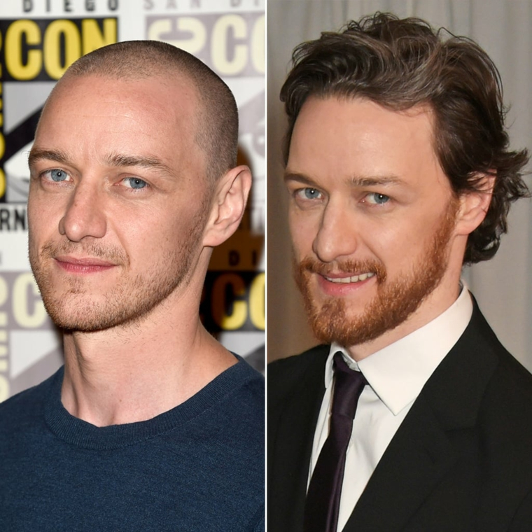 L'attore James McAavoy, taglio rasato uomo, capelli ricci uomo