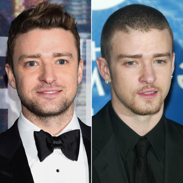 Il cantante Justine Timberlake, uomo con occhi blu, tagli maschili corti