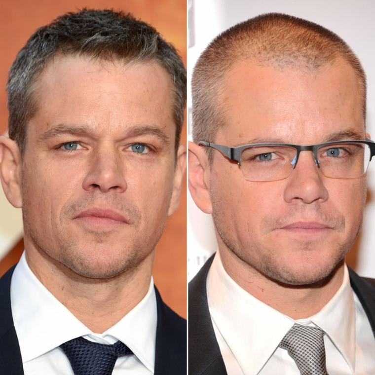 L'attore Matt Damon, capelli corti uomo rasati, camicia bianca con cravatta