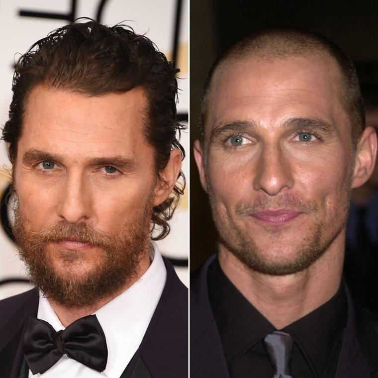 L'attore Matthew McConaughey, capelli corti uomo rasati, capelli ricci uomo