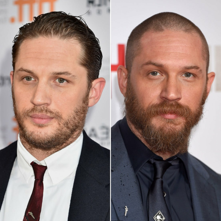 L'attore Tom Hardy, uomini con occhi blu, tagli capelli maschili