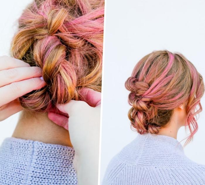 Colpi di sole rosa, capelli legati chignon