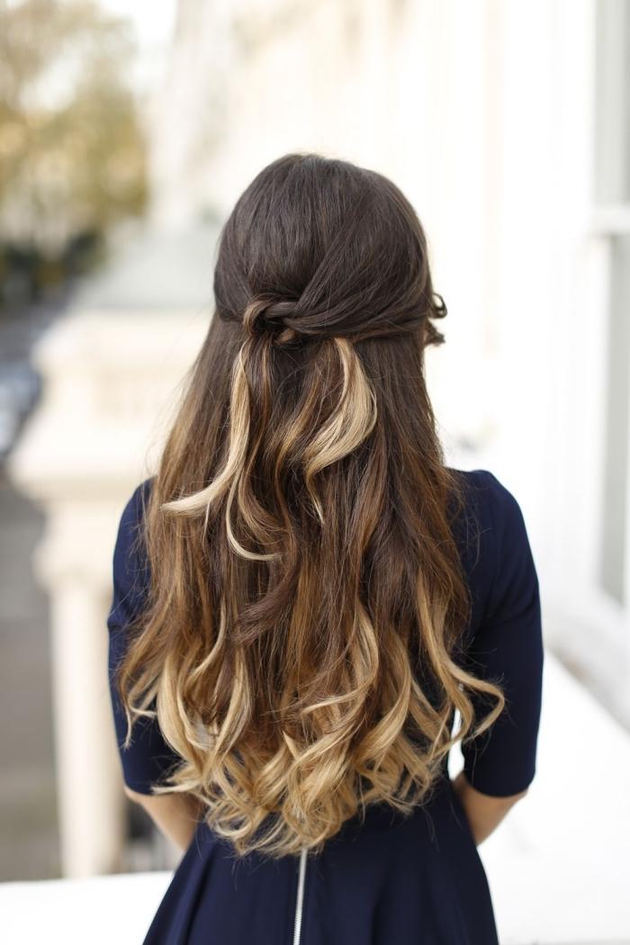 Acconciature facili, capelli lunghi, colore capelli ombre
