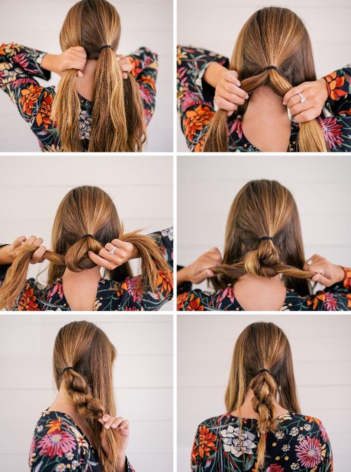 Tutorial pettinatura, acconciature capelli lunghi lisci, donna con vestito