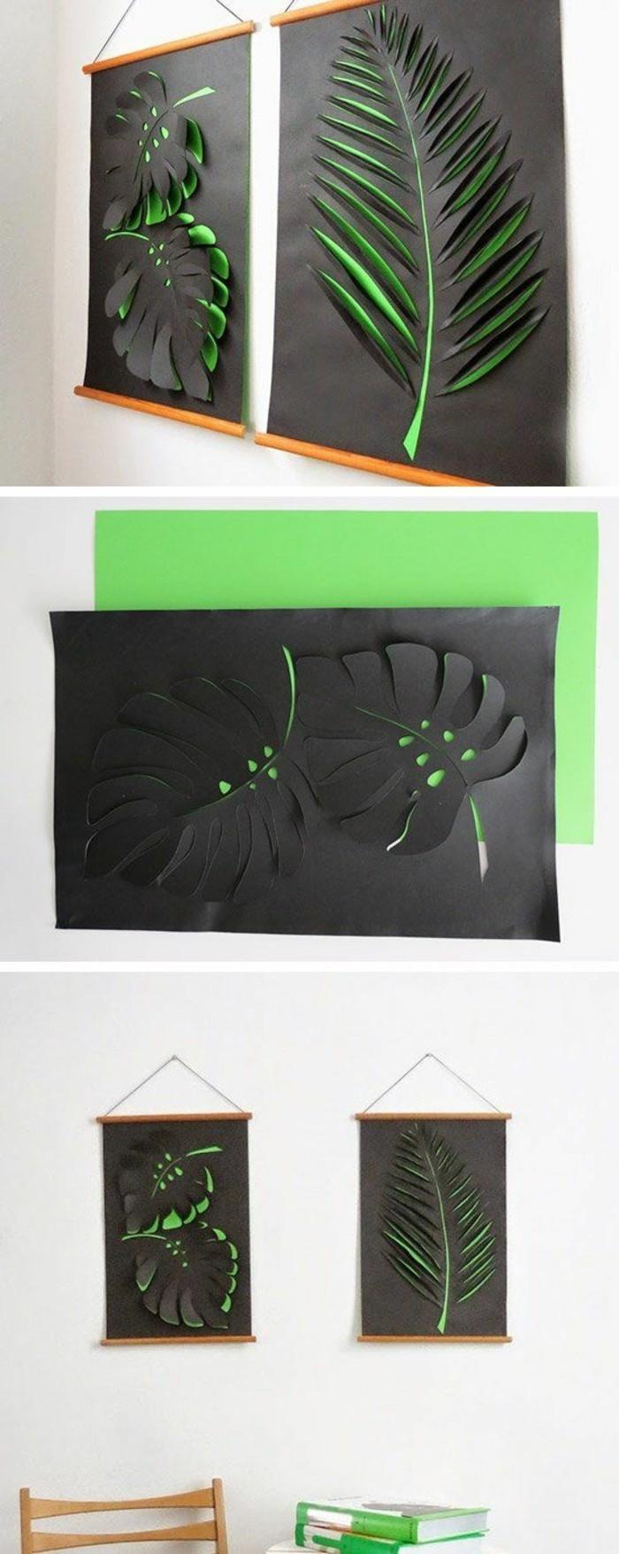 Decorazioni pareti moderne, fogli colorati, disegno foglia su carta