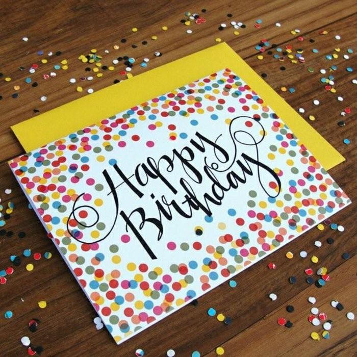 Cartolina con scritta, coriandoli attaccati, cartolina fatta a mano