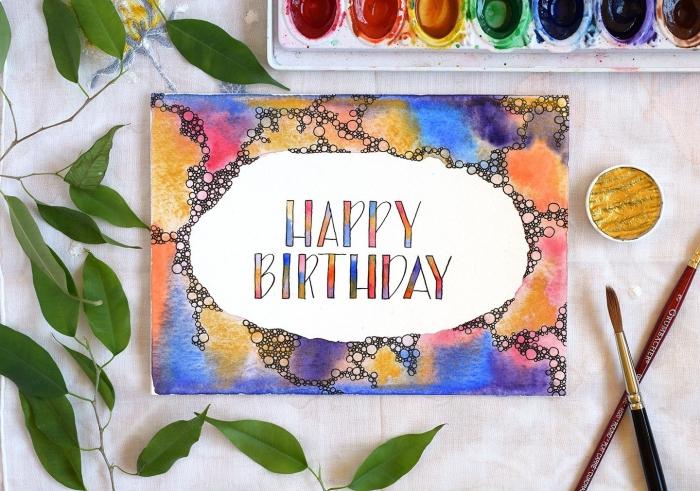 Biglietti buon compleanno, disegno con colori, foglie verdi