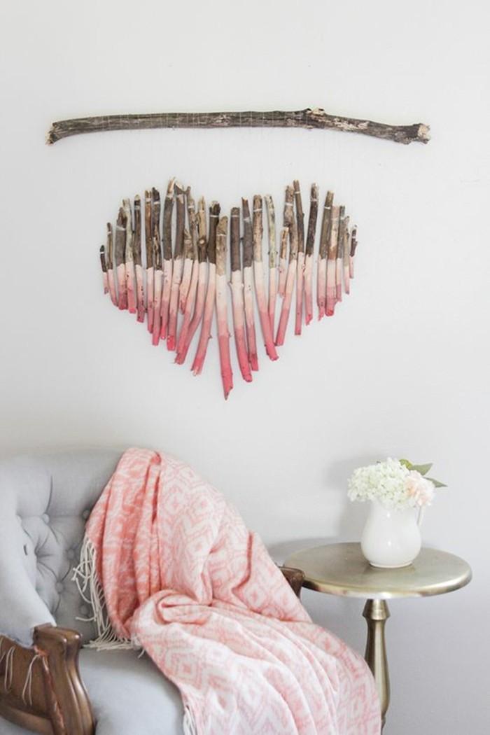 Bastoncino di legno, legno dipinto, forma cuore di legno