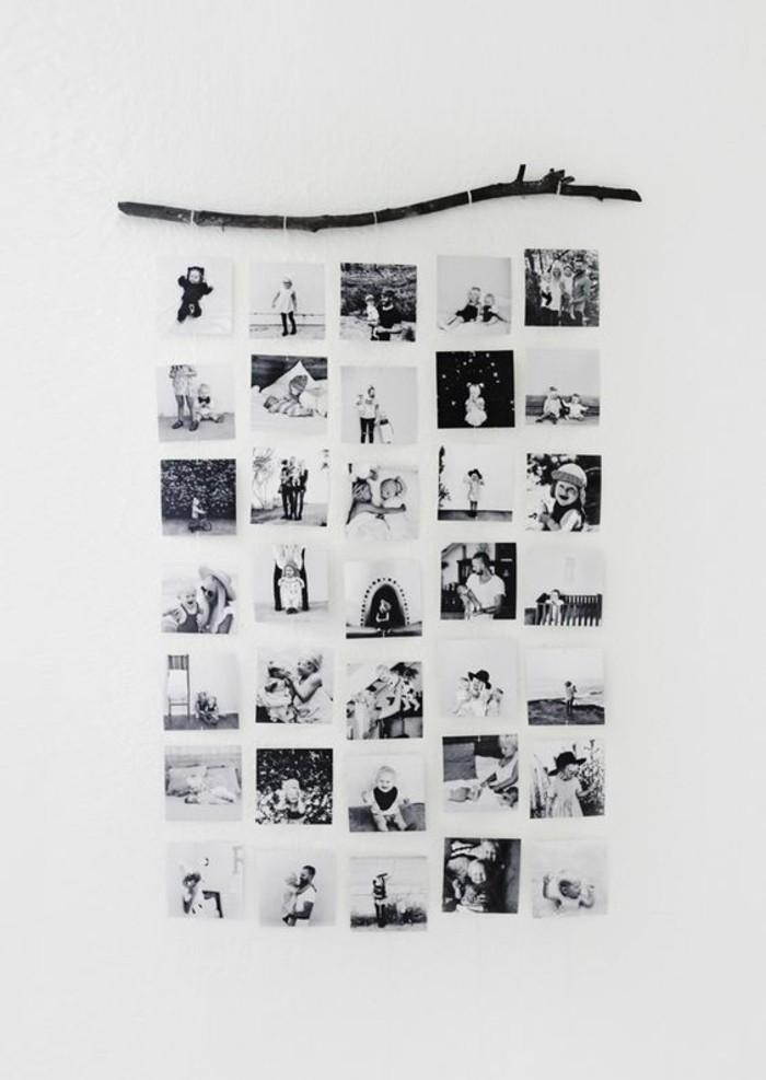 Bastone di legno, ramo con foto appese, come decorare le pareti della cucina