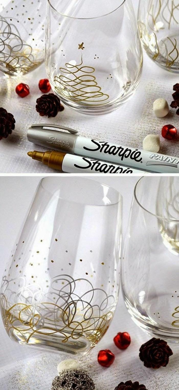 Regali natale fai da te amiche, bicchiere di vetro, bicchiere con disegni