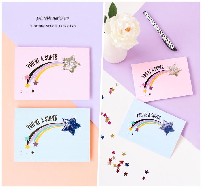 Come compilare una cartolina, bigliettino con stella cadente, scritta con pennarello nero