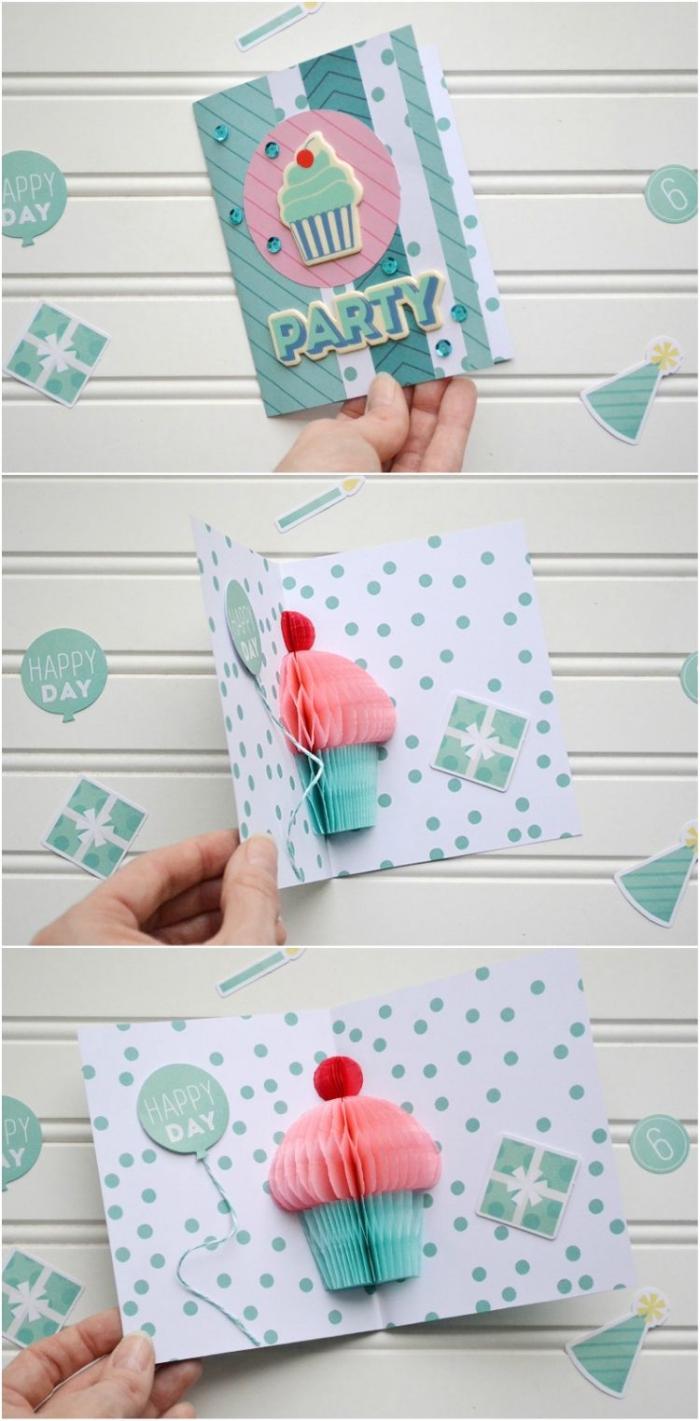 Cartolina ad armonica, biglietti compleanno fai date, stampa cupcake