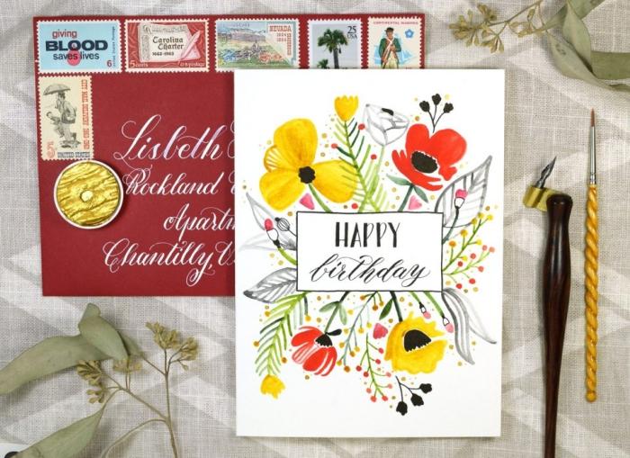 Come compilare una cartolina, bigliettino con scritta, disegni di fiori