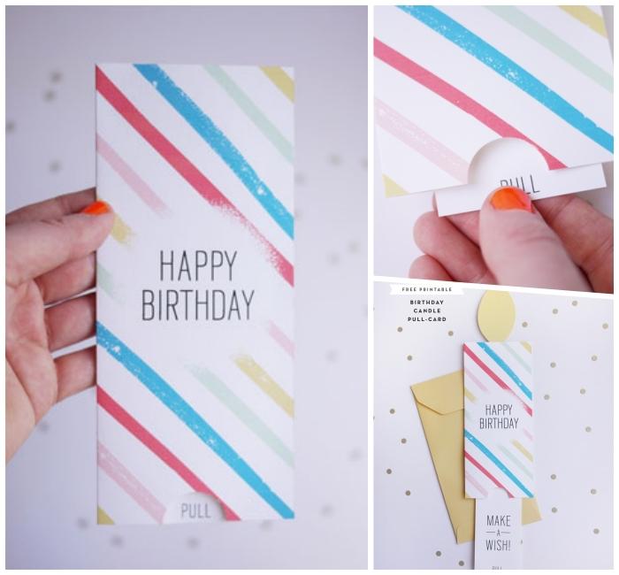 Biglietti buon compleanno, cartolina colorata, scritta Happy Birthday