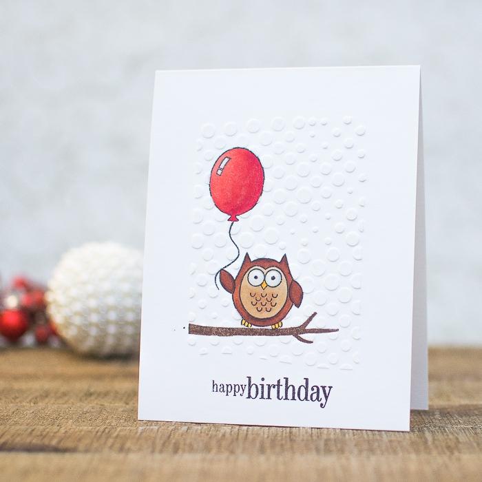 Biglietti compleanno fai da te, disegno di gufo, palloncino rosso