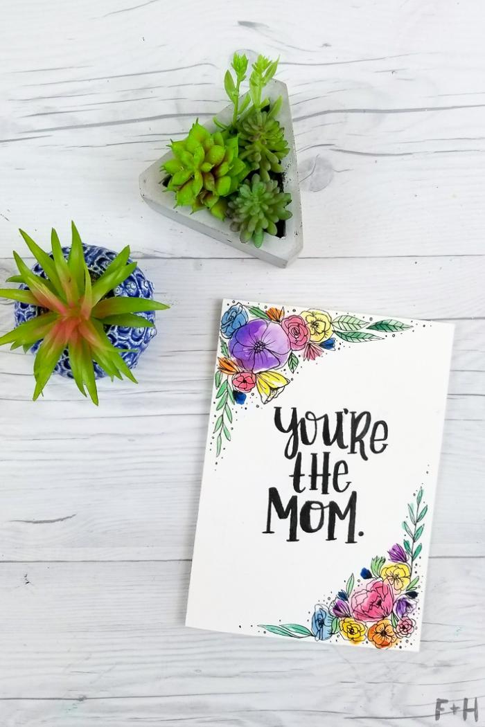 Biglietti di auguri fai da te, disegno di fiori colorati, piante succulente in vasi