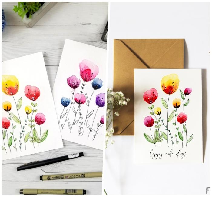 Auguri personalizzati compleanno, cartolina con fiori, disegni di fiori