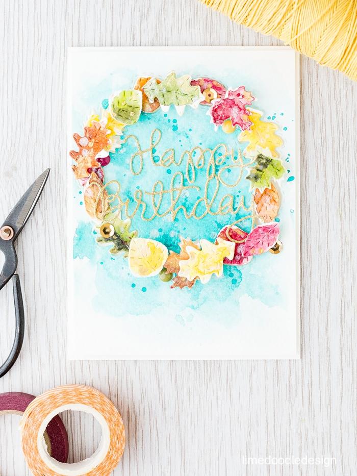 Come compilare una cartolina, disegno con fiori, nastro washi tape