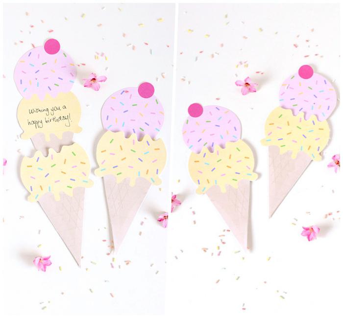 Cartolina forma gelato, scritta su cartolina, auguri personalizzati compleanno