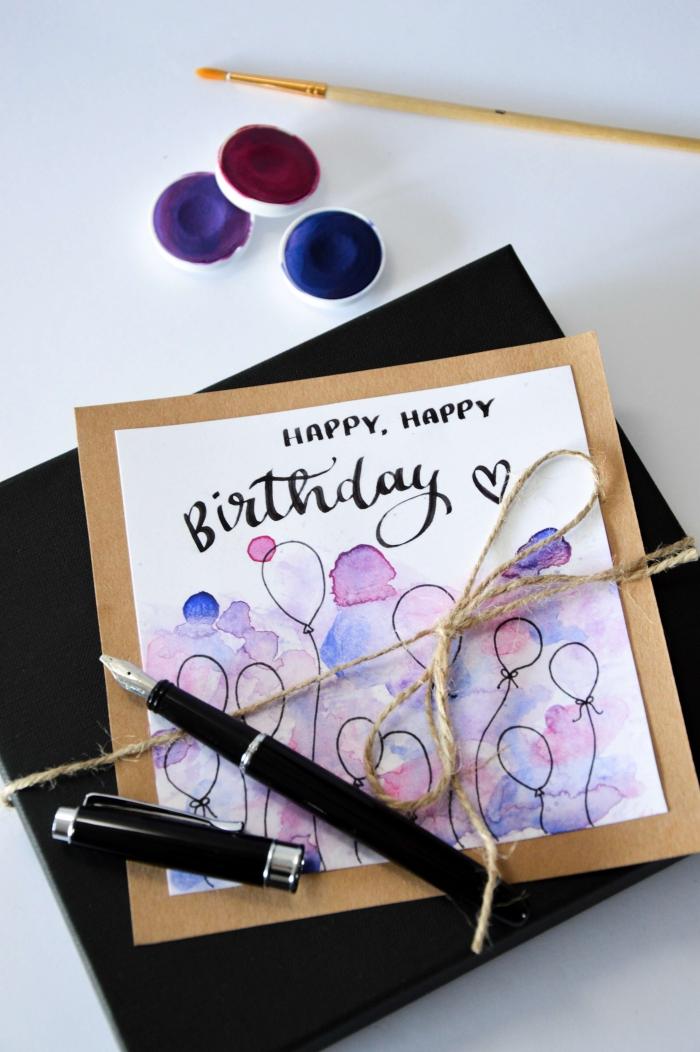 Biglietti compleanno fai da te, disegno con acquarelli, pennello sottile