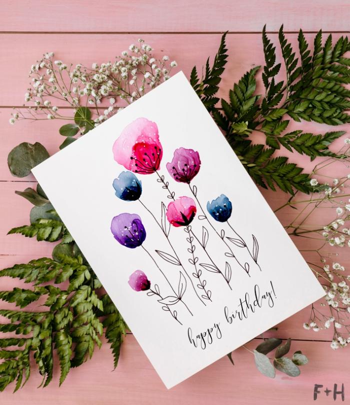 Biglietti auguri personalizzati online, disegno di fiori, scritta Happy Birthday