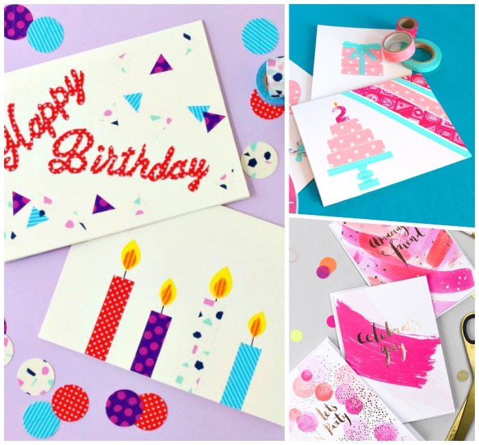 Auguri personalizzati compleanno, cartolina con candeline, disegno di una torta