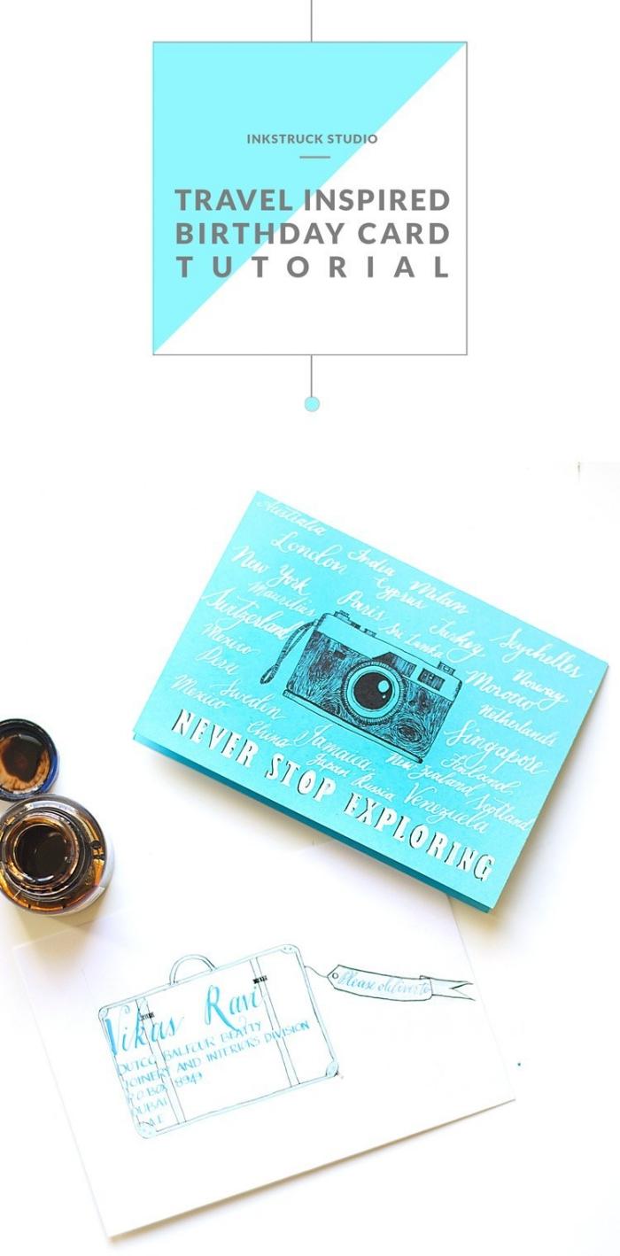 Disegno macchina fotografica, come scrivere un biglietto di auguri