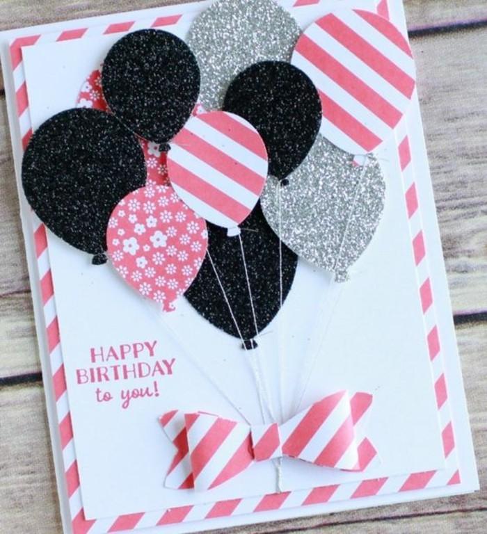 Biglietti buon compleanno, cartolina con palloncini, bordo rosa e bianco
