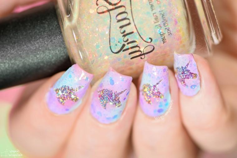 Smalto disegno unicorno, bottiglietta di smalto, smalto base rosa