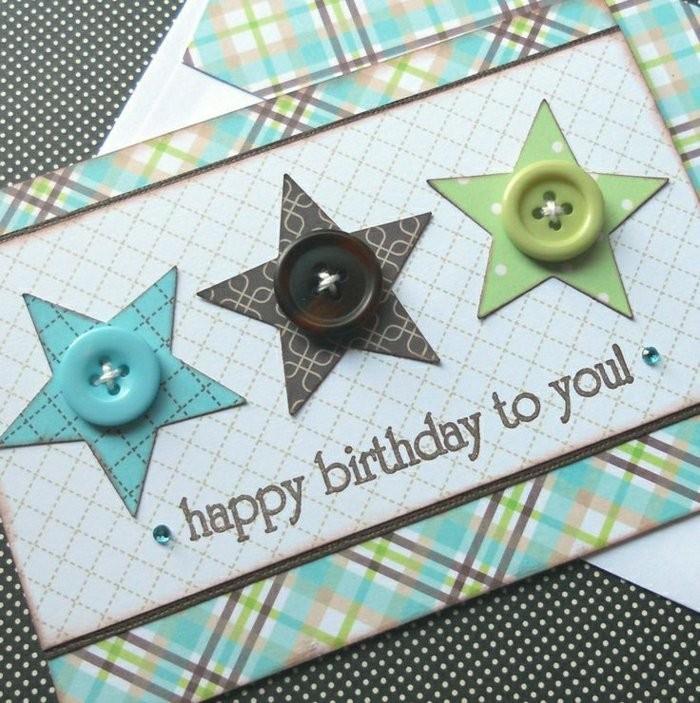 Bigliettino regalo bimbo, scritta buon compleanno, cartolina fatta con bottoni