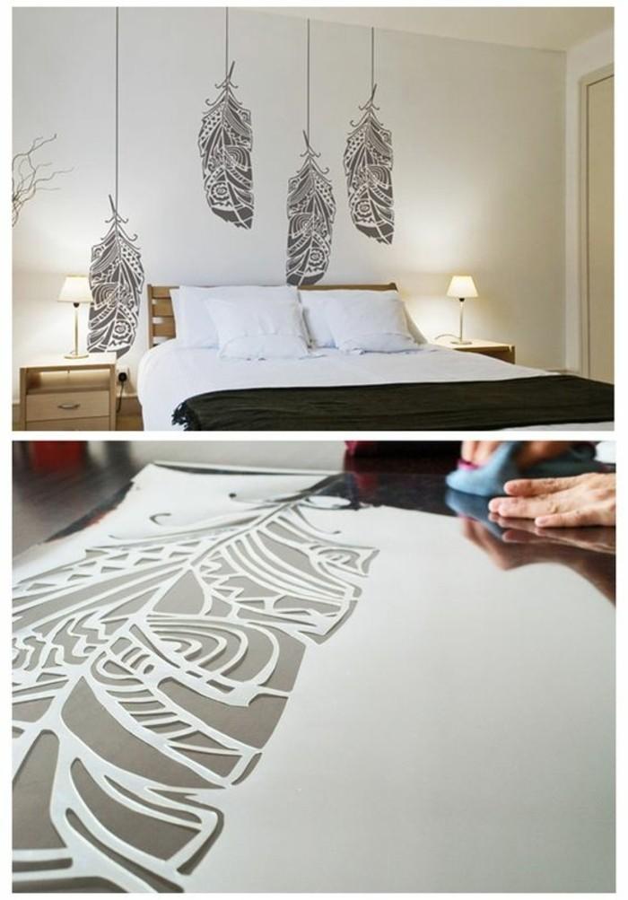Camera da letto, stencil di piuma, disegno su una parete