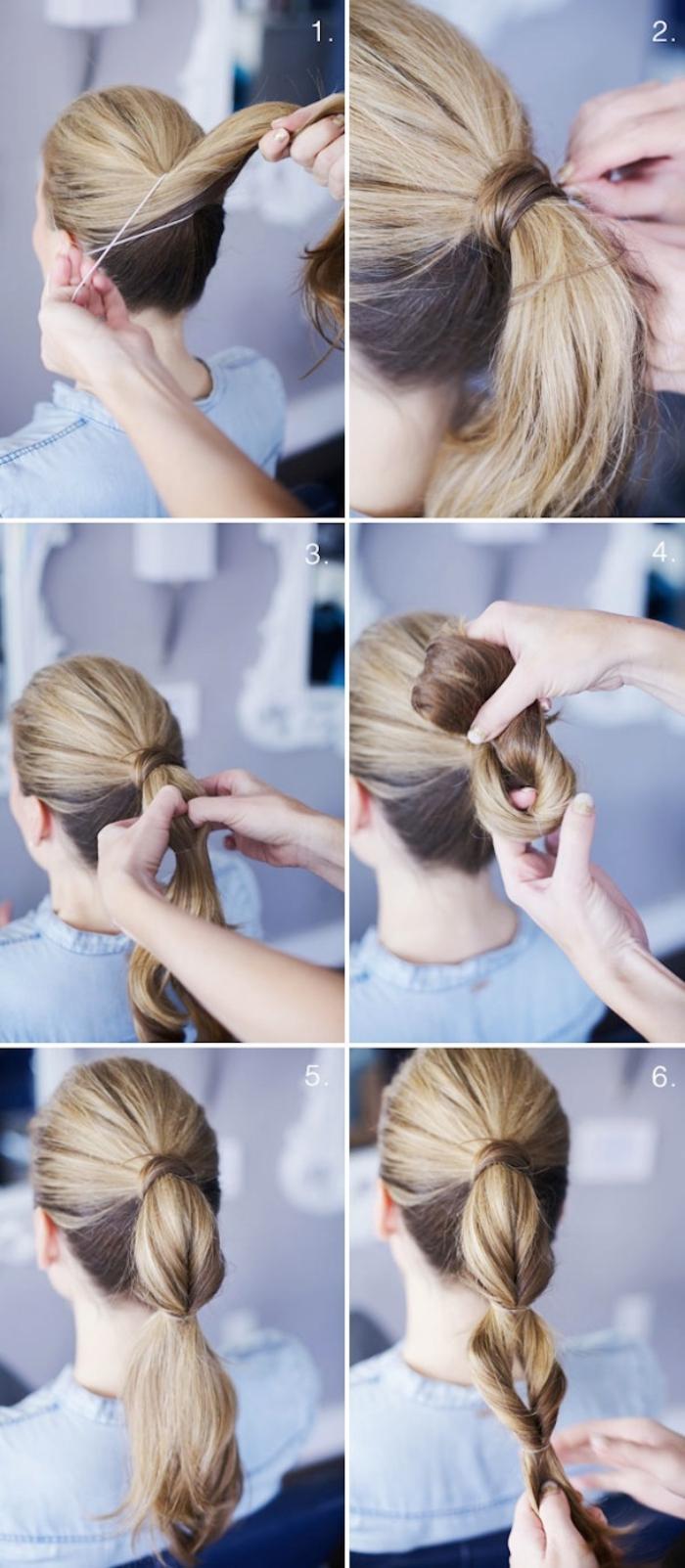 Acconciature facili, tutorial per legare i capelli, donna con capelli biondi