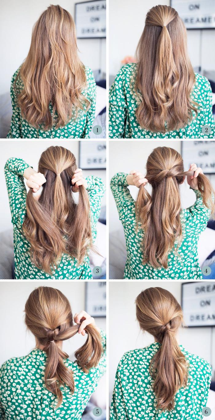 Acconciature facili, capelli mossi biondi, pettinatura con coda sciolta