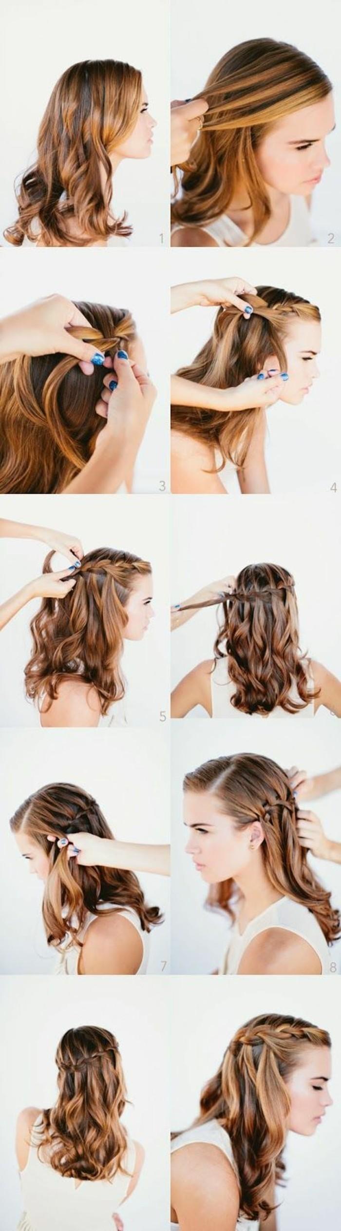 Acconciature capelli sciolti, capelli ricci, pettinatura con treccia laterale