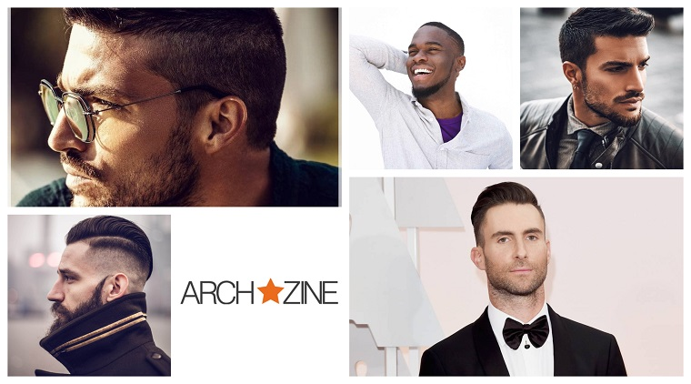 Collage di foto, capigliature uomo, capelli rasati lateralmente