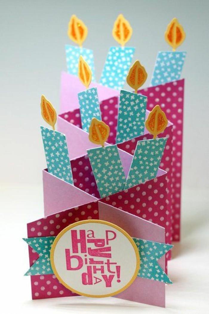 Cartolina con candeline, bigliettino tridimensionale, cartolina ad armonica