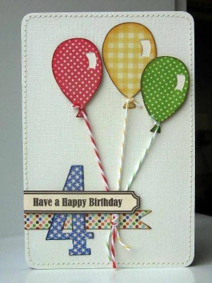 Bigliettino cucito, palloncini tridimensionali, scritta buon compleanno