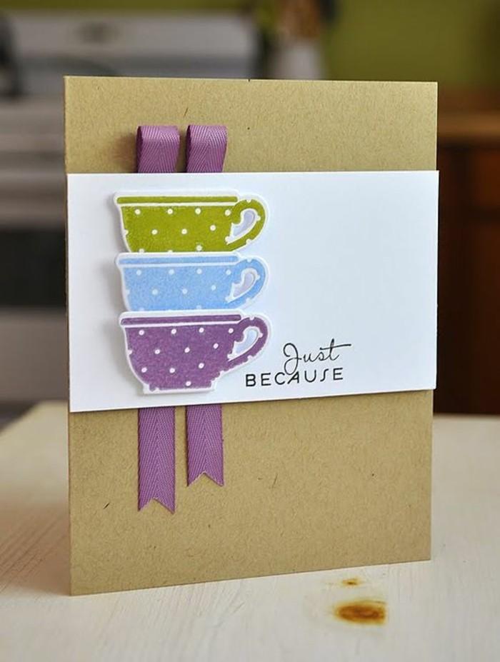 Cartolina per compleanno, fai da te con collage, nastri di colore viola
