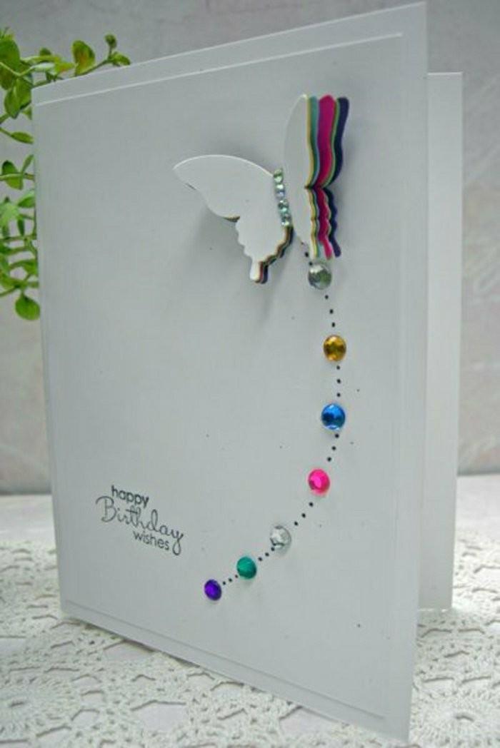 Bigliettino decorato con brillantini, farfalla 3d, cartolina fatta a mano