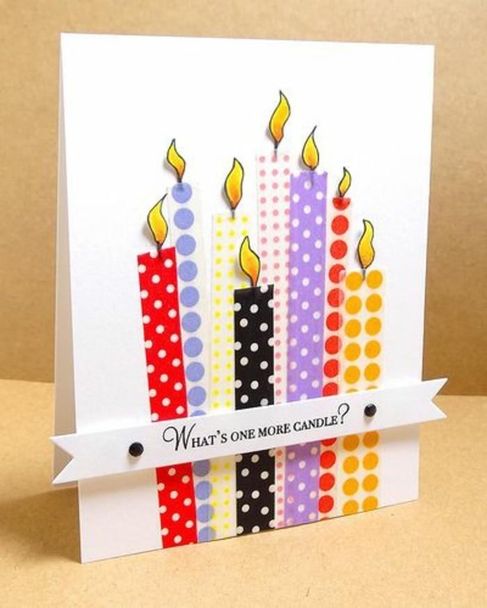 Cartolina fatta a mano, foglio bianco con washi tape, candeline di washi tape