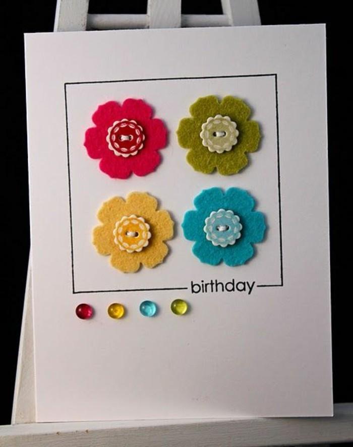 Bigliettino con brillantini, cartolina compleanno fatta a mano, fiori di feltro