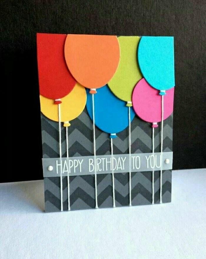 Cartolina con palloncini, bigliettino fai da te per compleanno, scritta buon compleanno
