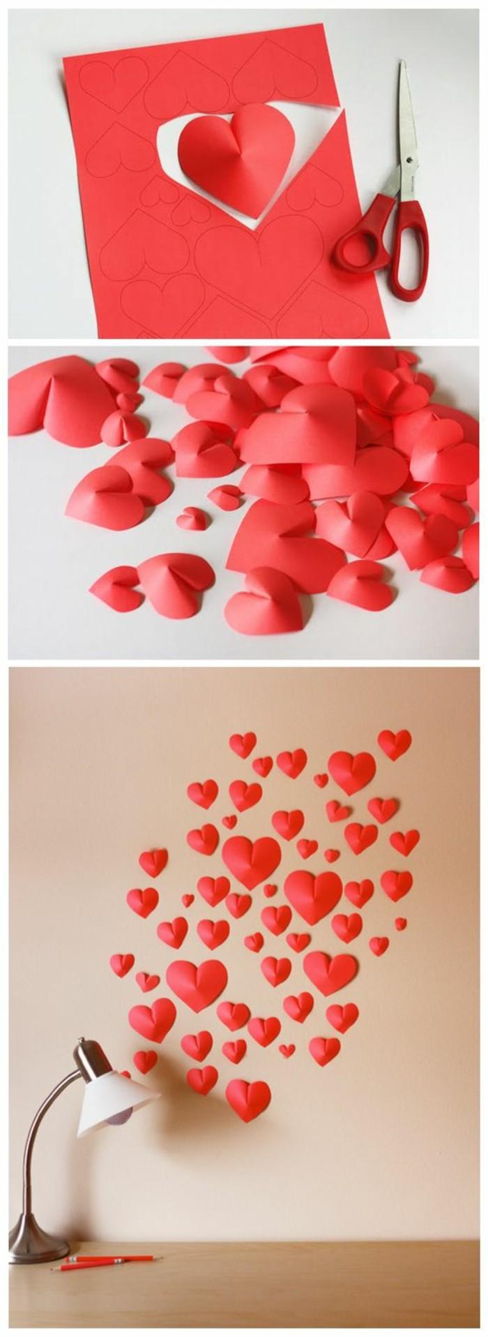 Ritagliare un cartone rosso, cuori su una parete, decorare pareti fai da te