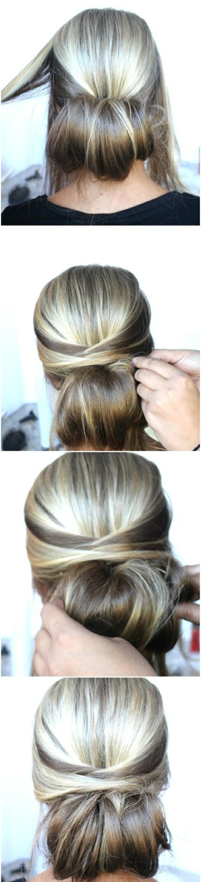 Acconciature semplici capelli medi, capelli legati a chignon