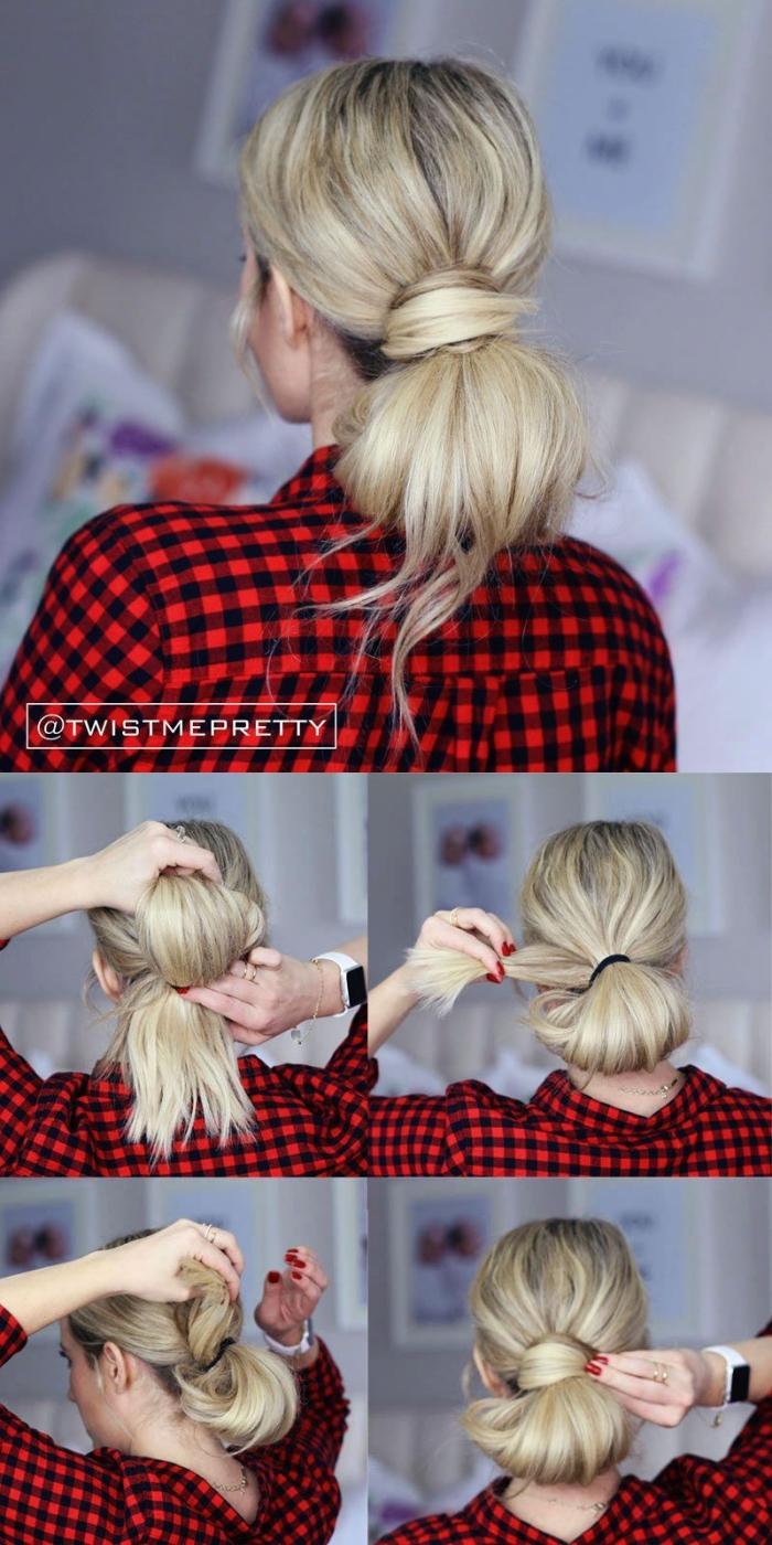 Acconciature capelli lunghi lisci, capelli legati a chignon, camicia rossa a quadri