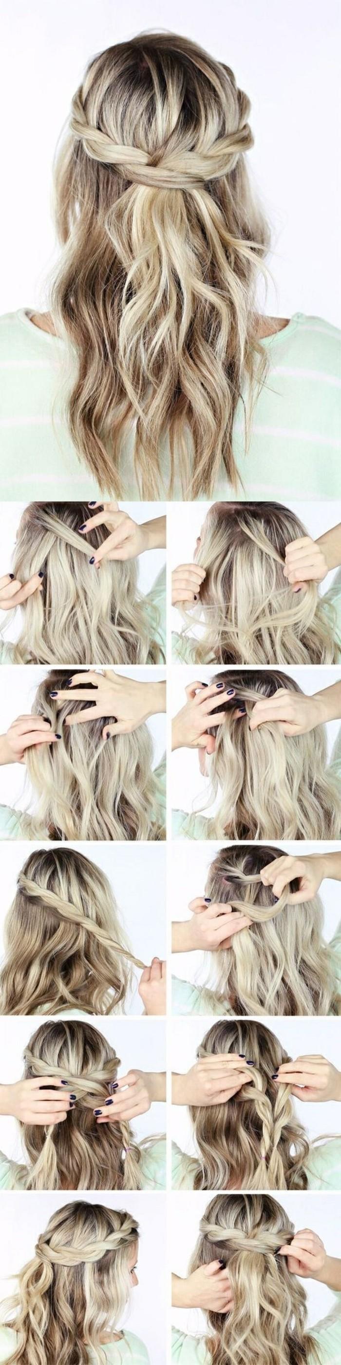 Acconciature semplici capelli lunghi, capelli di colore biondo, treccia a corona