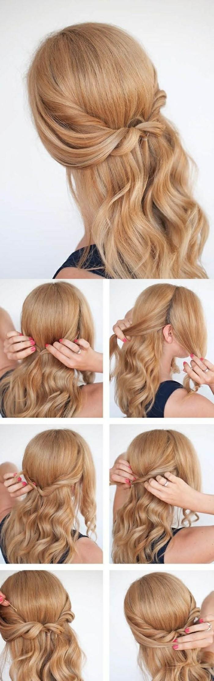 Acconciature capelli sciolti, capelli di colore biondo, chioma arrotolata e legata