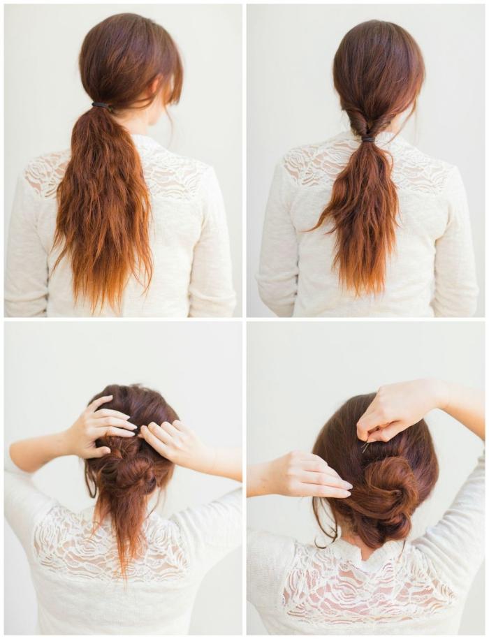Pettinature capelli medi, come fare la coda, chignon basso