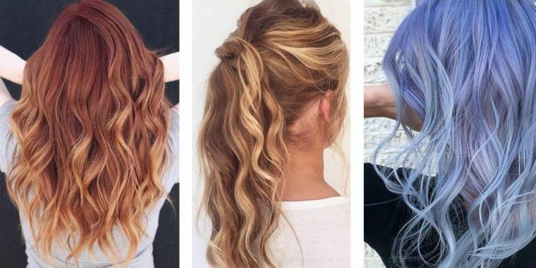 Tre acconciature, capelli lunghi e ricci, acconciature donna